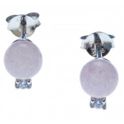 Boucles d'oreille argent rhodié 1g - quartztite teinté rose - zircons