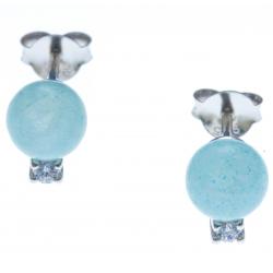 Boucles d'oreille argent rhodié 1g - quartztite bleu - zircons