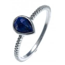 Bague argent rhodié 1,6g - lapis lazuli facetté - T50 à 60