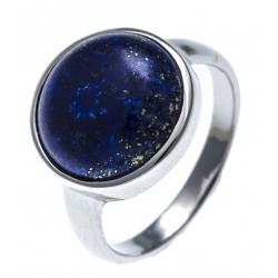 Bague argent rhodié 3,2g -  lapis lazuli - T52 à 60