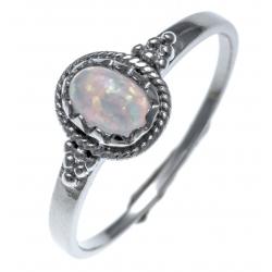 Bague argent rhodié 1,4g - opal synthétique - T50 à 60