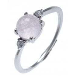 Bague argent rhodié 1,2g - quartzite teinté rose - zircons - T50 à 60