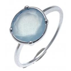 Bague argent rhodié 1,5g - calcédoine teintée bleue - T50 à 60