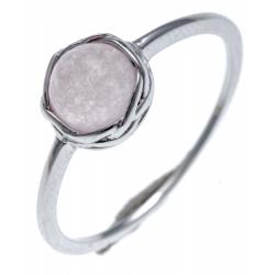 Bague argent rhodié 1,3g - quarzite  teinté rose - T50 à T60