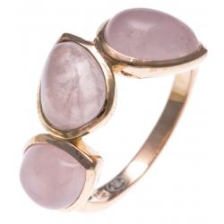 Bague argent rhodié 3,5g - quartz rose - T52 à T60