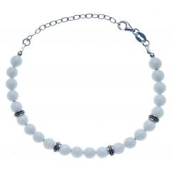 Bracelet argent rhodié 4g - 22 billes agate blanche 6mm - 17+5cm