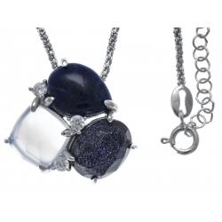 Collier argent rhodié 6,1g - sodalite - verre aventuriné - quartz fondu - calcédoine - zircons - 45+5cm
