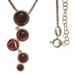 Collier argent rosé 7g - œil de taureau - quartz - 45+5cm