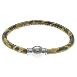 Bracelet acier Apollon - cuir véritable - impression militaire kaki, jaune - fermoir Plug&Go - 18,5cm