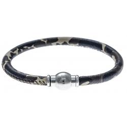 Bracelet acier Apollon - cuir véritable - impression militaire kaki, noir - fermoir Plug&Go - 18,5cm