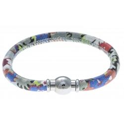 Bracelet acier Apollon - cuir véritable - impression fleurs multicolores dominante grise - fermoir Plug&Go - 18,5cm
