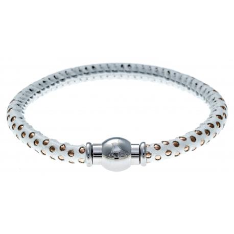 Bracelet acier Apollon - cuir véritable - impression petit pois blanc et rosé - fermoir Plug&Go - 18,5cm