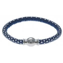 Bracelet acier Apollon - cuir véritable - impression petit pois bleu foncé et argenté - fermoir Plug&Go - 18,5cm