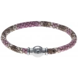 Bracelet acier Apollon - cuir véritable - impression peau de serpent fushia - fermoir Plug&Go - 18,5cm