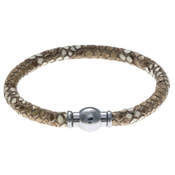 Bracelet acier Apollon - cuir véritable - impression python marron  - fermoir Plug&Go - 18,5cm