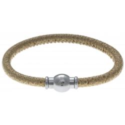 Bracelet acier Apollon - cuir véritable - impression vintage beige - fermoir Plug&Go - 18,5cm