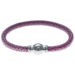 Bracelet acier Apollon - cuir véritable - impression vintage rose - fermoir Plug&Go - 18,5cm