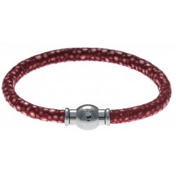 Bracelet acier Apollon - cuir véritable - impression galuchat  rouge - fermoir Plug&Go - 18,5cm