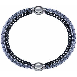 Apollon - Collection MiX - bracelet combinable chaines 2 tons noir et blancs - 10,25cm + chaines 2 tons noir et blancs - 10,25cm