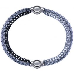 Apollon - Collection MiX - bracelet combinable chaines 2 tons noir et blancs - 10,25cm + chaines - 10,25cm