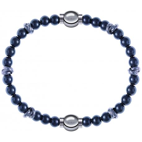 Apollon - Collection MiX - bracelet combinable hématite 6mm - 10cm + hématite 6mm - 10cm