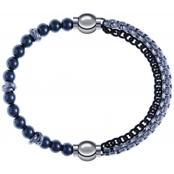 Apollon - Collection MiX - bracelet combinable hématite 6mm - 10cm + chaines 2 tons noir et blancs - 10,25cm