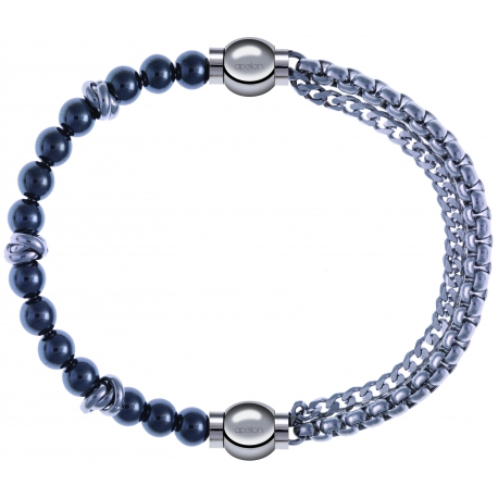 Apollon - Collection MiX - bracelet combinable hématite 6mm - 10cm + chaines - 10,25cm