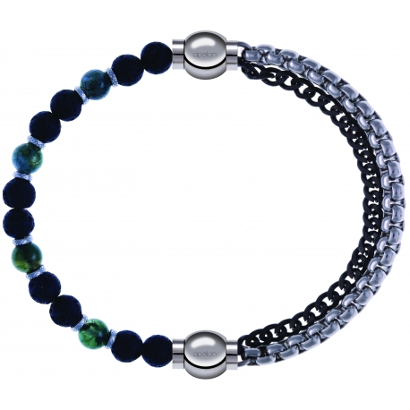 Apollon - Collection MiX - bracelet agate teintée verte - pierre de lave 6mm - 10,75cm + chaines 2 tons noir et blancs - 10,25cm