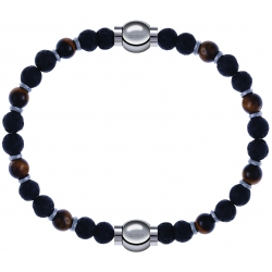 Apollon - Collection MiX - bracelet oeil de tigre - pierre de lave 6mm - 10,75cm + oeil de tigre - pierre de lave 6mm - 10,75cm