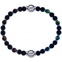 Apollon - Collection MiX - bracelet oeil de tigre - pierre de lave 6mm - 10,75cm + agate verte - pierre de lave 6mm - 10,75cm