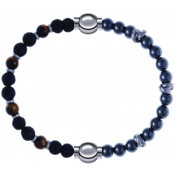 Apollon - Collection MiX - bracelet combinable oeil de tigre - pierre de lave 6mm - 10,75cm + hématite 6mm - 10cm