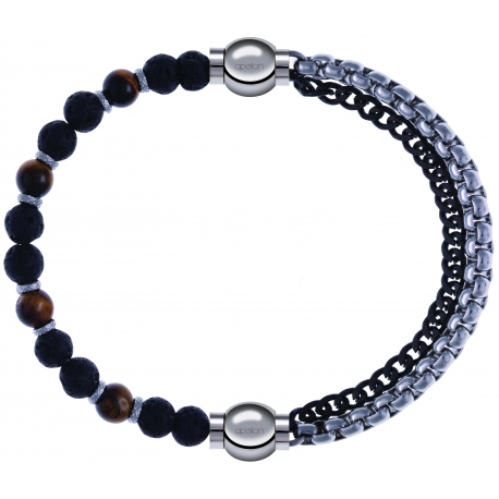 Apollon - Collection MiX - bracelet - oeil de tigre - pierre de lave 6mm - 10,75cm + chaines 2 tons noir et blancs - 10,25cm