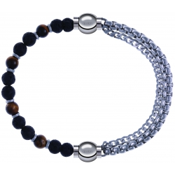 Apollon - Collection MiX - bracelet combinable oeil de tigre - pierre de lave 6mm - 10,75cm + chaines - 10,25cm