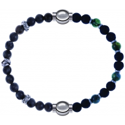 Apollon - Collection MiX - bracelet combinable labradorite 6mm - 10cm + agate teintée verte - pierre de lave 6mm - 10,75cm