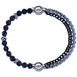 Apollon - Collection MiX - bracelet combinable labradorite 6mm - 10cm + chaines 2 tons noir et blancs - 10,25cm