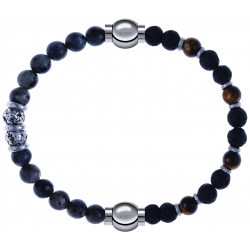 Apollon - Collection MiX - bracelet combinable sodalite 6mm - 10cm + oeil de tigre - pierre de lave 6mm - 10,75cm