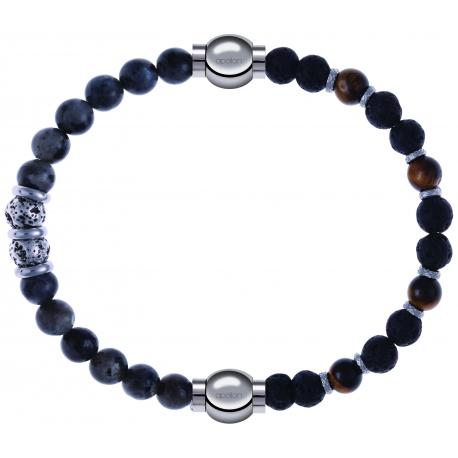 Apollon - Collection MiX - bracelet combinable sodalite 6mm - 10cm + oeil de tigre - pierre de lave 6mm - 10,75cm