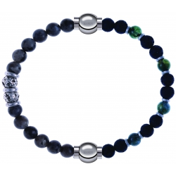 Apollon - Collection MiX - bracelet combinable sodalite 6mm - 10cm + agate teintée verte - pierre de lave 6mm - 10,75cm