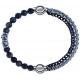 Apollon - Collection MiX - bracelet combinable sodalite 6mm - 10cm + chaines 2 tons noir et blancs - 10,25cm