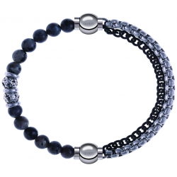 Apollon - Collection MiX - bracelet combinable sodalite 6mm - 10cm + chaines 2 tons noir et blancs - 10,25cm