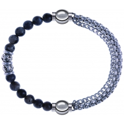 Apollon - Collection MiX - bracelet combinable sodalite 6mm - 10cm + chaines - 10,25cm