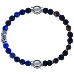 Apollon - Collection MiX - bracelet combinable labradorite 6mm - 10cm + oeil de tigre - pierre de lave 6mm - 10,75cm
