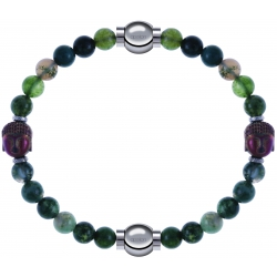 Apollon - Collection MiX - bracelet combinable agate verte 6mm - Bouddha - 10cm + agate verte 6mm - Bouddha - 10cm