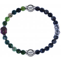 Apollon - Collection MiX - bracelet combinable agate verte 6mm - Bouddha - 10cm + sodalite 6mm - 10cm