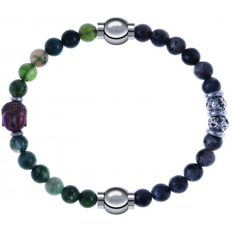 Apollon - Collection MiX - bracelet combinable agate verte 6mm - Bouddha - 10cm + sodalite 6mm - 10cm
