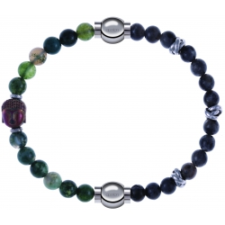 Apollon - Collection MiX - bracelet combinable agate verte 6mm - Bouddha - 10cm + labradorite 6mm - 10cm