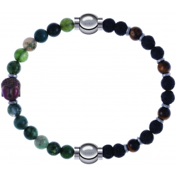 Apollon - Collection MiX - bracelet combinable agate verte 6mm - Bouddha - 10cm + oeil de tigre - pierre de lave 6mm - 10,75cm