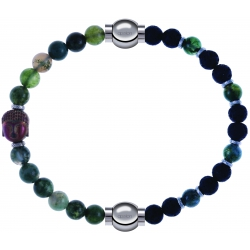 Apollon - Collection MiX - bracelet combinable agate verte 6mm - Bouddha-10cm + agate teintée verte-pierre de lave 6mm-10,75cm