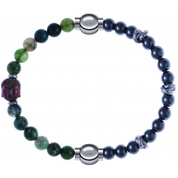 Apollon - Collection MiX - bracelet combinable agate verte 6mm - Bouddha - 10cm + hématite 6mm - 10cm
