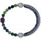 Apollon - Collection MiX - bracelet combinable agate verte 6mm - Bouddha - 10cm + chaines 2 tons noir et blancs - 10,25cm